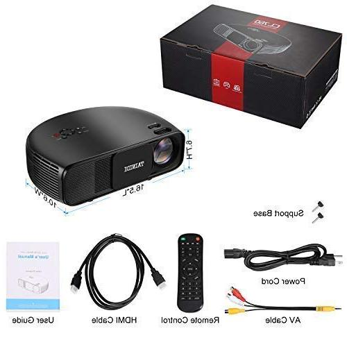 Projector, 3600Lux, with Screen, Theater Projector 2HDMI 2USB Headphone Compatible DVD TV Stick