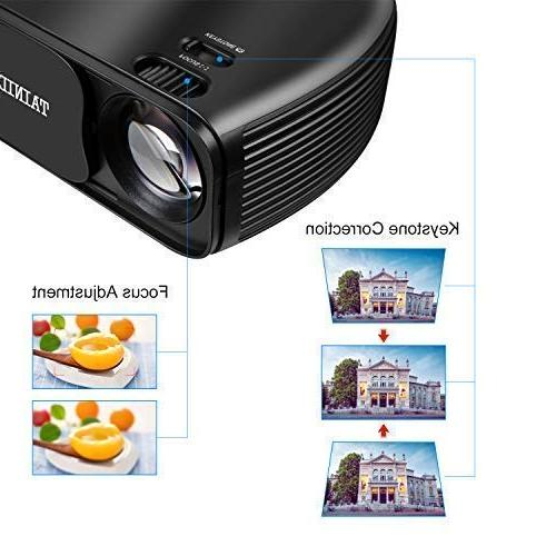 Projector, TAINIDI Projector 3600Lux, Full HD with Theater 2HDMI 2USB AV Headphone Jack, Compatible Laptop DVD TV