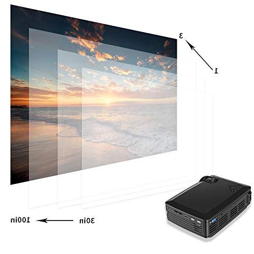 Projector Upgraded Lumens 800x480 Native Resolution LED Mini Portable Projectors 1080P HDMI VGA AV Card Laptop Android Theater