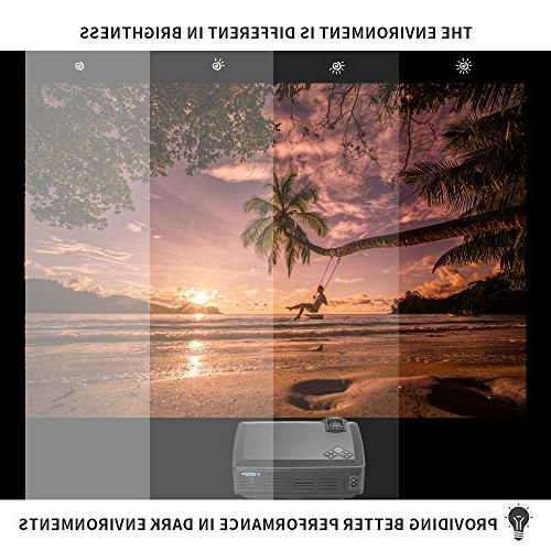 Projector Randemfy Upgraded Lumens 800x480 LED Mini Projectors HDMI VGA USB Card Laptop iPhone Smartphone for Home Theater