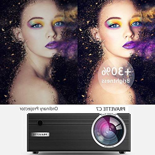 PRAVETTE Mini Projector Entertainment 800x480 Support HDMI/USB/SD Pc iPhone Android Phone DVD Chormecast