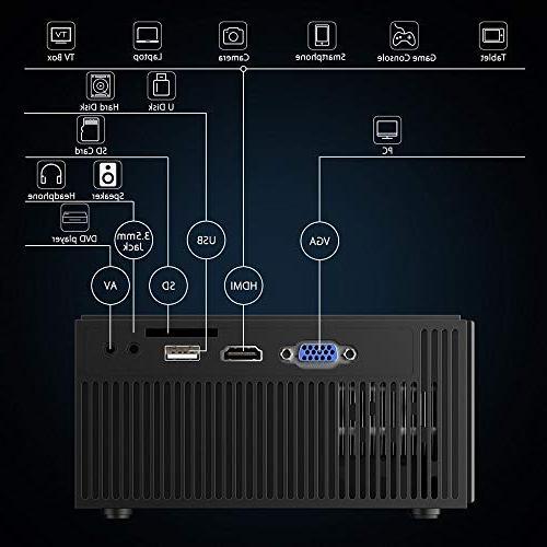 PRAVETTE C7-BK Mini Portable Projector Home 800x480 HDMI/USB/SD Fire TV Pc iPhone DVD