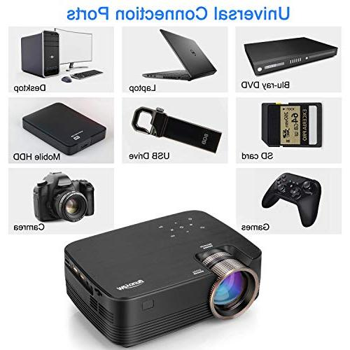 Projector, Meyoung Touch Mini Projector Support HD for Home Games- Compatible
