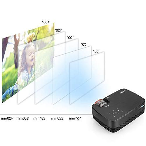 Projector, Meyoung 2019 Upgraded Touch LED Mini Projector 1080P, HD Outdoor Video for Games- Compatible