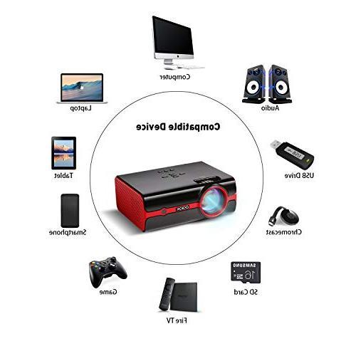 "Projector 180"" Big Upgraded +60% 1080P Portable with HDMI/USB/SD/AV/VGA Input"