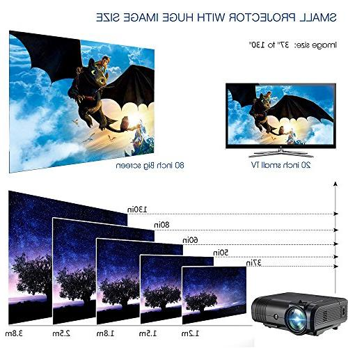 Movie Projector,Weton Mini Projector 2200 Lumen 1080P Portable Projector Multimedia Home Theater Outdoor All Smartphones iPad HDMI,VGA,USB,AV