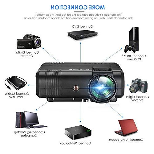 Movie Projector Projectors 1080P LCD Projector Multimedia Home Outdoor for Smartphones iPad Support