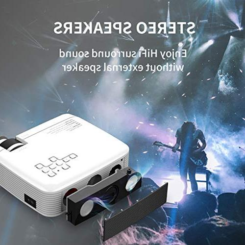 Azk Projectors,Mini 50% Brighter Portable Projector,Home Movie Support 1080P HDMI USB VGA Laptop PC PS4 iPhone Android
