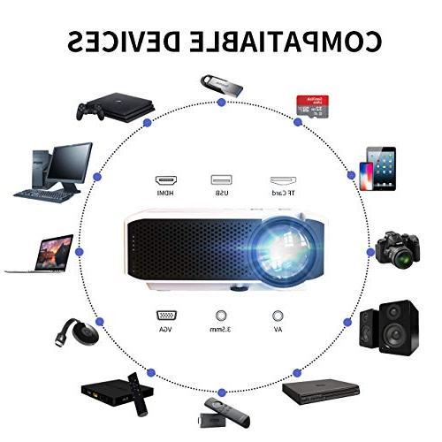 Azk Projectors,Mini 50% Brighter Portable Movie 1080P HDMI USB SD Card VGA for Laptop PC iPhone Android