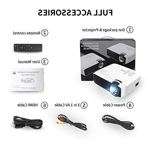 Azk Video Projector, 50% Portable LED Theater Movie Support HDMI Card VGA for TV Laptop Xbox iPhone