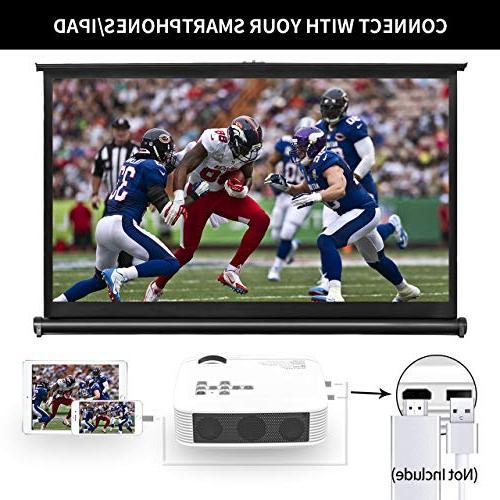 Azk 50% Portable Projector,Home Movie HDMI USB VGA AV for Laptop iPhone