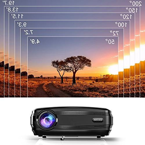 Video Projectors, SOLOVE HDMI Projector Full Home Theater Projector Movie PowerPoint for PC iPhone
