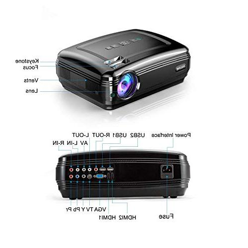 Video Projectors, SOLOVE Projector Home Projector for Movie and PowerPoint Presentation for PC iPhone