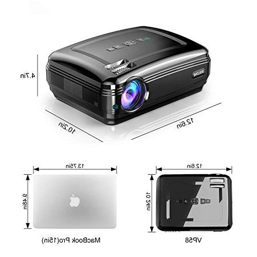 Video Projectors, Projector 1080P Home Theater Movie PowerPoint Presentation for Laptop iPhone