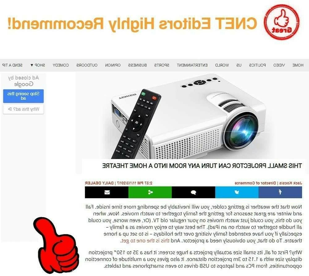 TENKER Q5 Mini Projector 1080P Display Full HD Video...