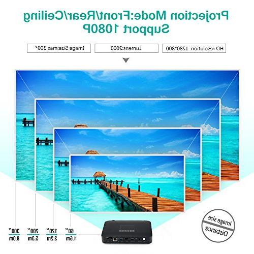 WOWOTO Mini Projector Home Projector 1080P DLP Video Projector Built Battery 7800mAh Android System for Business&Education
