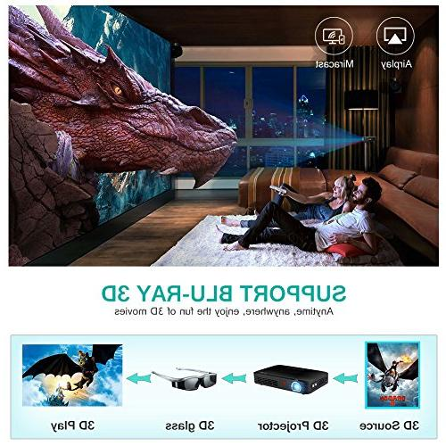 WOWOTO T8E Mini Portable Projector Home Theater Support 1080P Video Projector in Battery 7800mAh for Gaming
