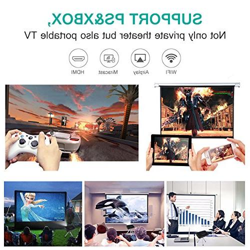 WOWOTO T8E Mini Portable Home Projector 1080P Max300 DLP 3D Battery for Gaming Business&Education