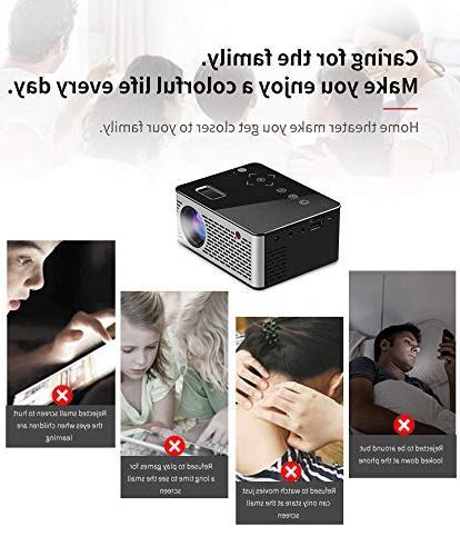 BEESCLOVER Ultra Mini Pocket LED Keys HDMI Video Projector Beamer Support Power Bank US