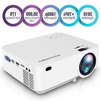 upgraded mini projector 176 display 3000l full