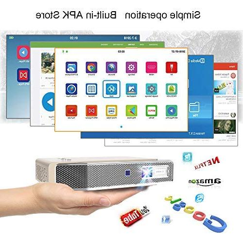 Toumei V5 Mini Projector, &Office with ANSI lumens Dual-Band Wi-Fi/BT-4.2/Ultra 4K Inches/DLP Business&Education