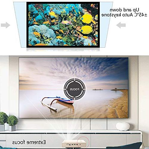 Toumei Mini Projector, &Office Projector with Wi-Fi/BT-4.2/Ultra Inches/DLP 3D Business&Education