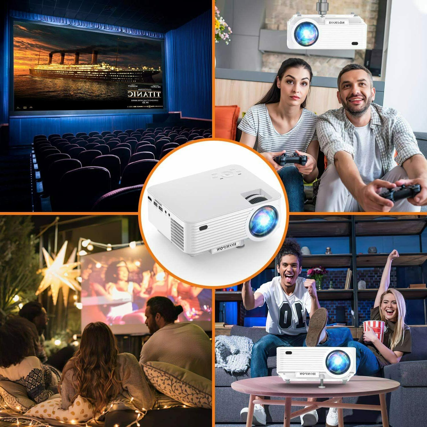 Video 4500Lux Mini Projector with Projector Screen,