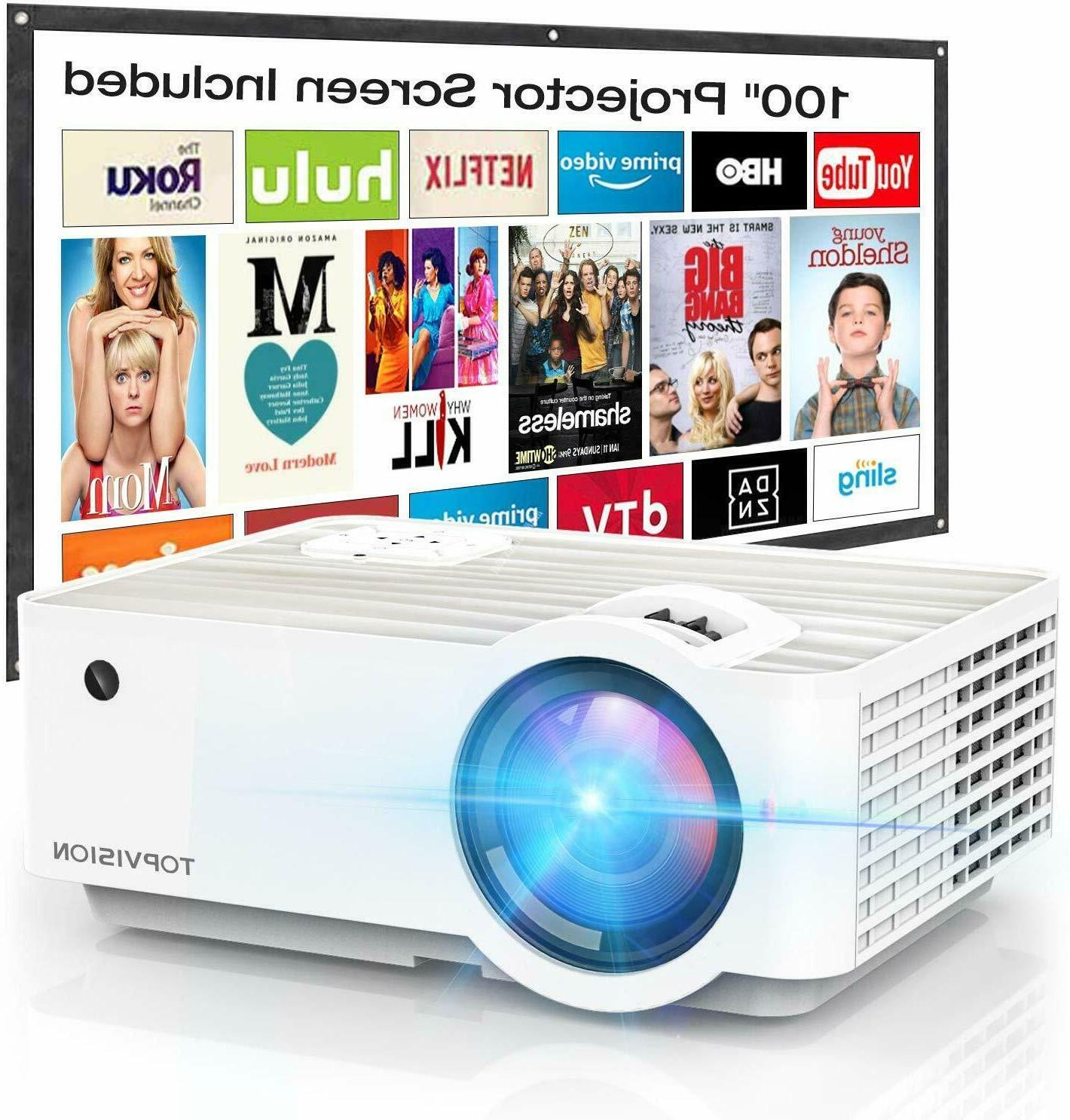 Video Projector, TOPVISION 4500Lux Portable Mini Projector w