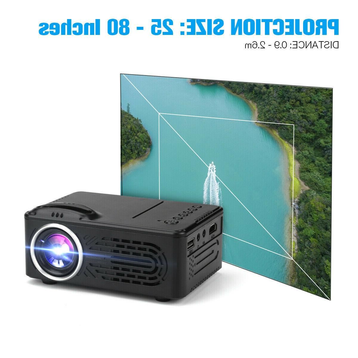 Portable Projector 1080P Theater Video Movie Game 3D HDMI USB