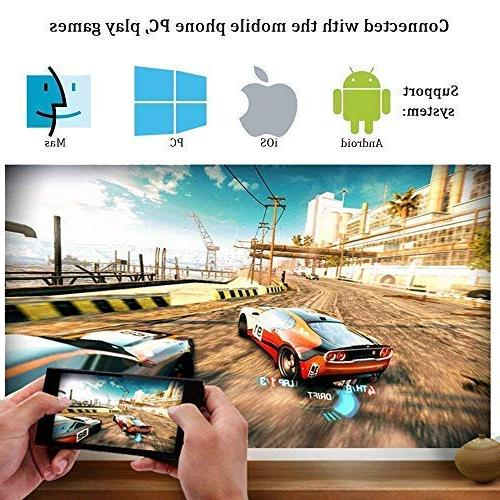 WiFi Projector, Portable Projector Full LED with HDMI/ USB/ VGA/ AV Input PC Gaming