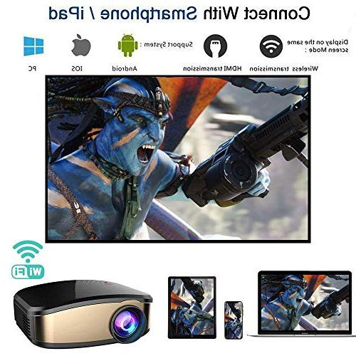 WiFi Portable Projector LED with AV Smartphones PC Devices