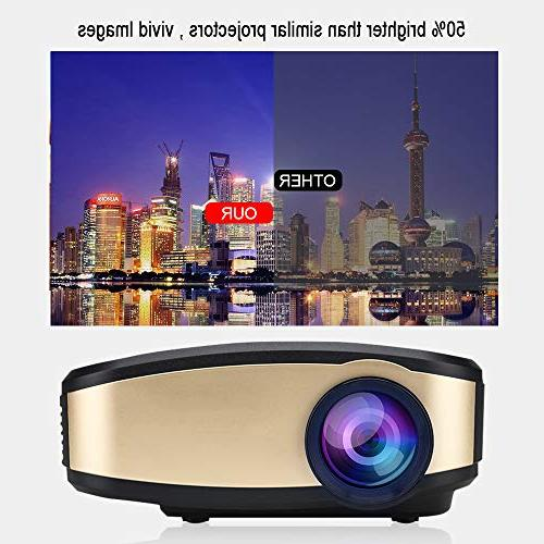 WiFi Projector, Portable Projector LED with USB/ AV Smartphones PC Gaming Devices