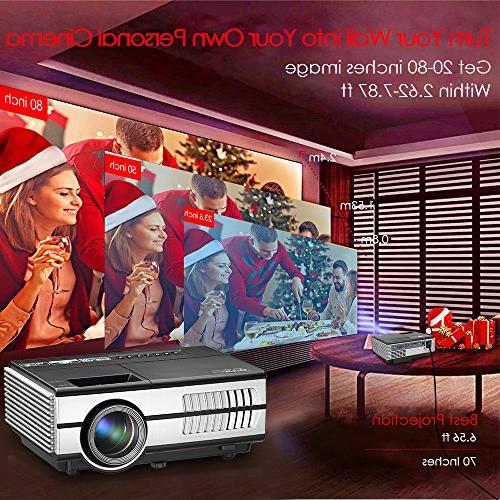 Wireless Projector LED LCD- 1500 Multimedia Home Outdoor including Speaker, VGA, 3.5mm Audio