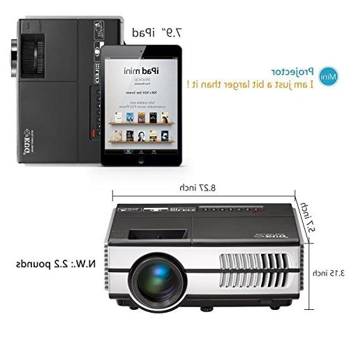 Wireless Projector LCD- 1500 Lumens Multimedia for Home Cinema Outdoor Party Speaker, VGA, 3.5mm Audio Remote