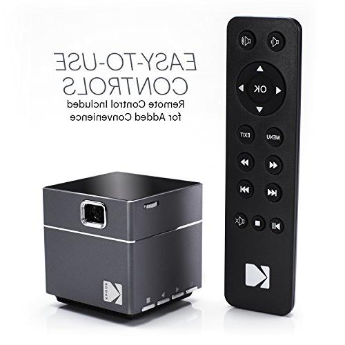 Kodak Wireless Projector - LED Mini Projector Android Miracast, iOS Apple Phones Devices Rechargeable Speakers Card
