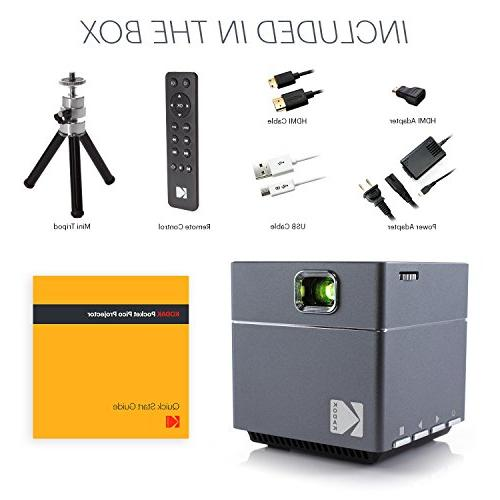 Kodak Wireless Projector - LED 1080p Projector Supports Miracast, Airplay Rechargeable Speakers HDMI Micro SD Card