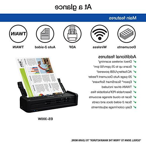 Epson ES-300W Color Portable Document Scanner with ADF PC and Mac, Sheet-fed Duplex