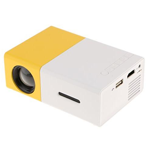 MagiDeal YG-300 LED Projector 600LM 3.5mm 320 240 Pixels YG-300 USB Projector Home Media Player Yellow