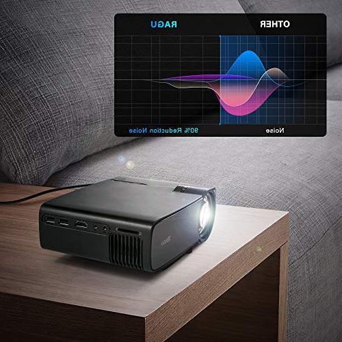 """RAGU Z400 Mini 2019 1080P 180"""" 50,000 Hrs Projector with HDMI/VGA/USB/AV/SD"""