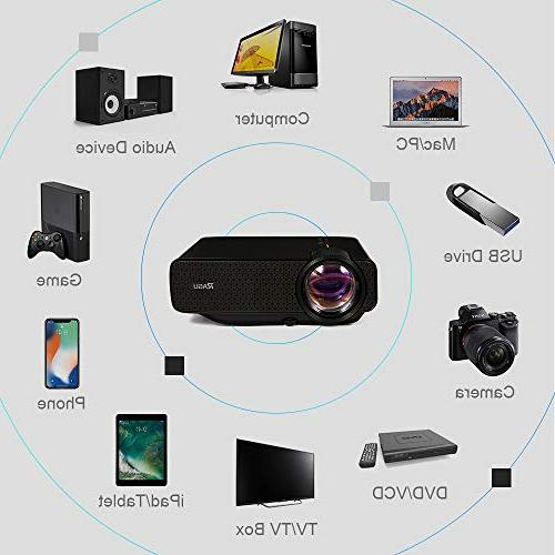 RAGU Mini 2019 Upgraded HD 1080P 50,000 Movie Projector for HDMI/VGA/USB/AV/SD