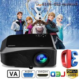 Excelvan LED Mini Outside Projector FHD 1080P With HDMI USB