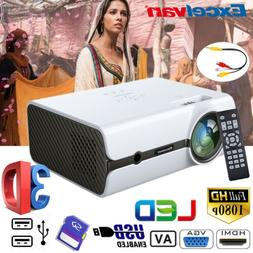 Mini 3D 5000 Lumens LED Video Projector FHD 1080P Multimedia