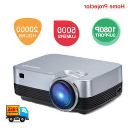 Mini 5000 Lumens 3D 1080P Projector HD LED LCD Aideo Home Ci