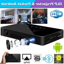 Mini DLP LED 4K Projector 1080P Android 6.0 Wifi Bluetooth H