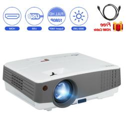 Mini HD LED Projector 3600lms Multimedia Video 1080P Home Th