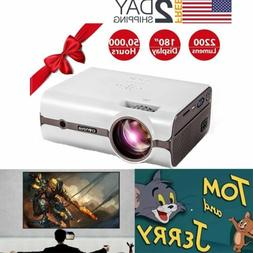 Mini Crenova HDMI Projector Screen Video USB AV PC Theater F