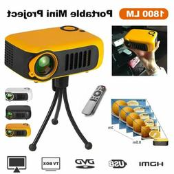 1800LM Portable Mini Projector HD Home Theater Video Movie G