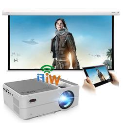 Mini LED Home Theater WiFi Projector HD Wirelessly Mirror Sc