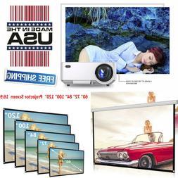 Mini LED Multimedia Home Theater Projector+84inch HD 16:9 Po