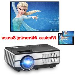 EUG Mini LED Projector Home Theater HDMI Support Wireless iO